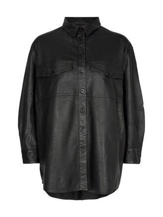 Agnes Thin Leather Shirt, Black