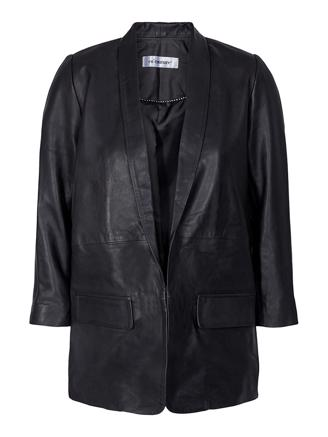 Andrea Leather Blazer - Black