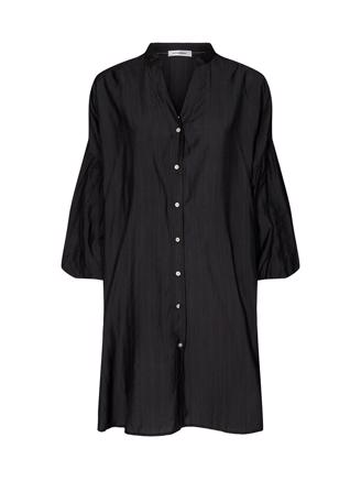 Avery Balloon Tunic Shirt, Black