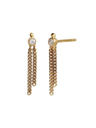 BIG DOT EARRING GOLD WITH TWO CHAIN