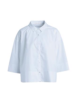 Babara Circle deep hem shirt, Light Blue