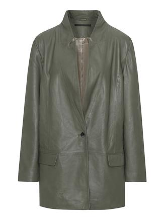 Coco Thin Leather Blazer, Four Leaf Clover