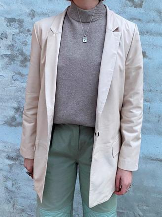 Coco Thin Leather Blazer, Sand