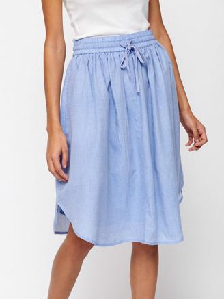 Curve Skirt Chambray, Light Blue