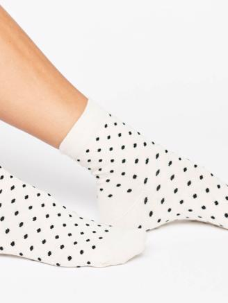 Dotted Socks - Ecru/Black dots
