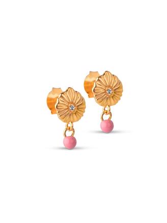 Mini Sparkling Shell Earring, Flamingo