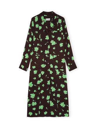 F5417 Shirt Dress Printed Crepe, Mole