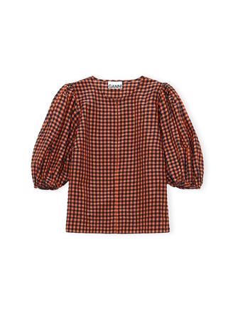 F5584 Blouse Seersucker Check, Flame