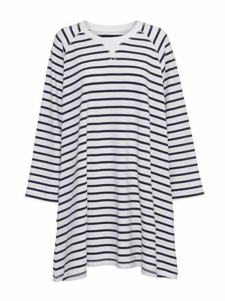 Fall Sweatdress Stripe, Ecru/Navy