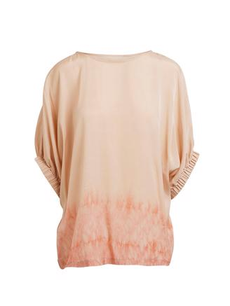 Hermione, Freckled Border Blouse, Sand Pink