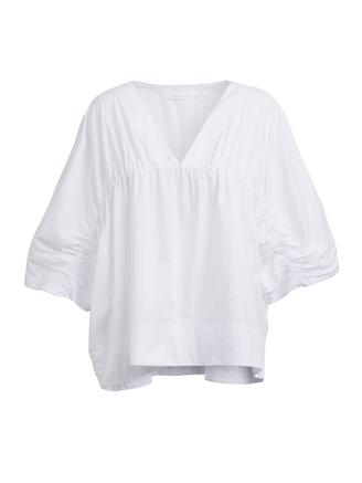 Ines, Garthered Top, White