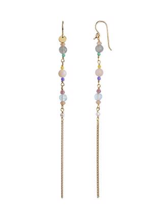 Long Earring with Stones and Chain, Candy Floss Mix