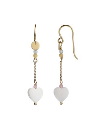 LOVE HEART EARRING W CHAIN - PASTEL MIX
