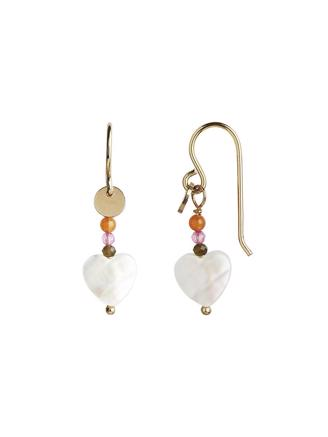 LOVE HEART EARRING GOLD -  WITH GEMSTONES - PASTEL CORAL MIX