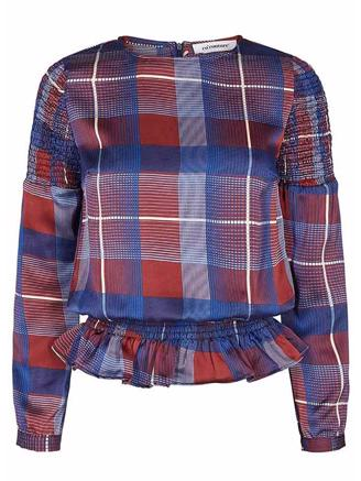 MODERN CHECK BLOUSE-NEW BLUE