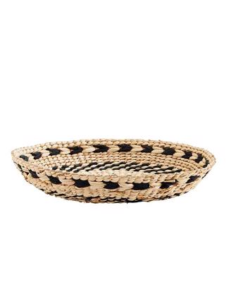 ROUND WICKER TRAY - NAT/BLACK