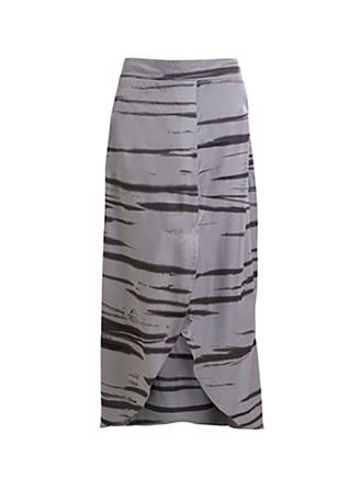 Noora Wild stripe long skirt - Grey