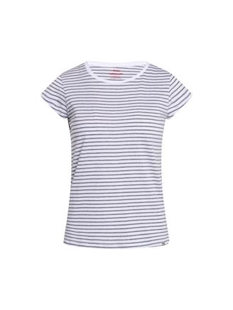 Organic Favorite Stripe Teasy, White/Grey Melange