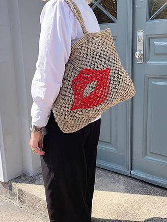 STRAW BAG BEA - RED LIP