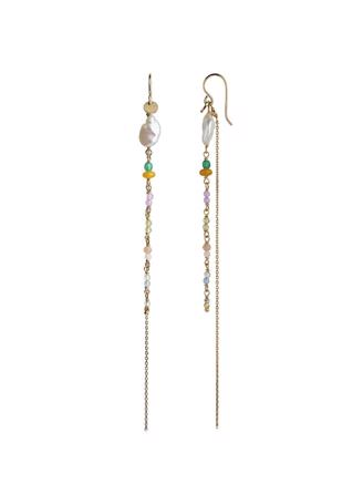 Petit Gemstones with Long Chain Ørering, Guld