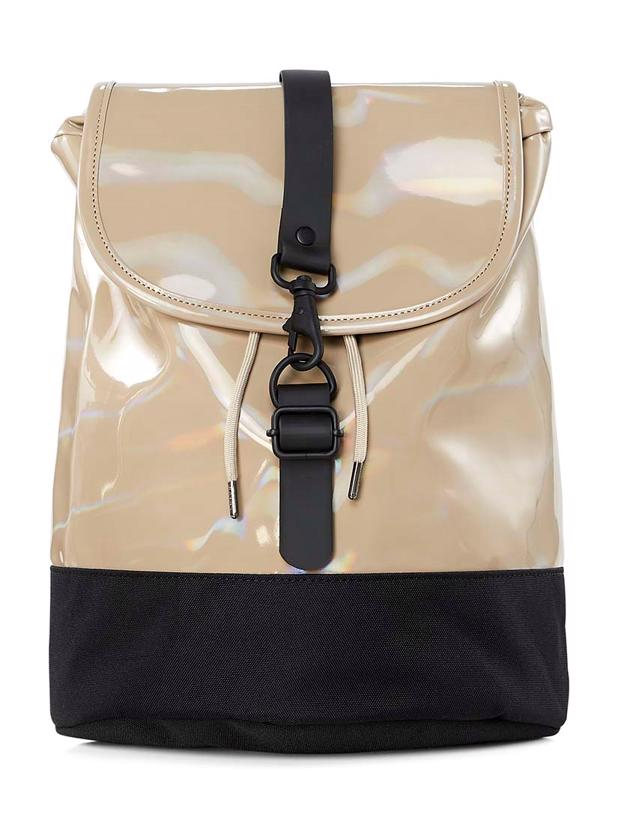 HOLOGRAPHIC DRAWSTRING BACKPACK - BEIGE
