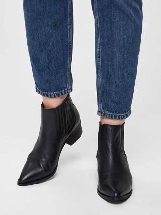 SLFELENA NEW LEATHER BOOT - BLACK