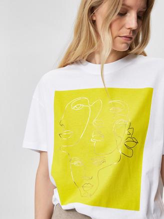 SlfFaces 2/4 Printed Tee, Bright White