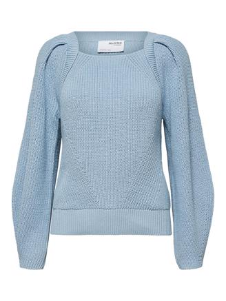 SlfGry LS Knit Square Neck, Cashmere Blue