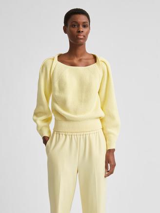SlfGry LS Knit Square Neck, Pastel Yellow