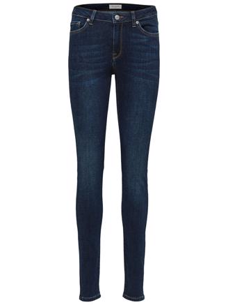 SLFIDA MW SKINNY - DARK BLUE DENIM