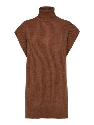 SlfSanna Tunic Knit Rollneck - Toffee