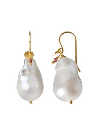 BAROQUE PEARL EARRING WITH GEMSTONE - GULD - 1173