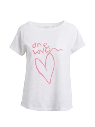 Sally, One Love T-Shirt, Chalk/Coral