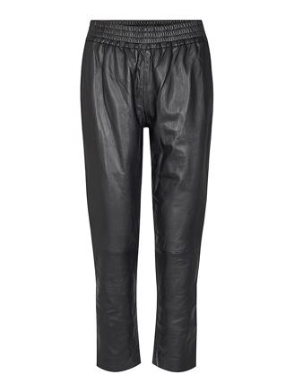 Shiloh Crop Leather Pant, Black