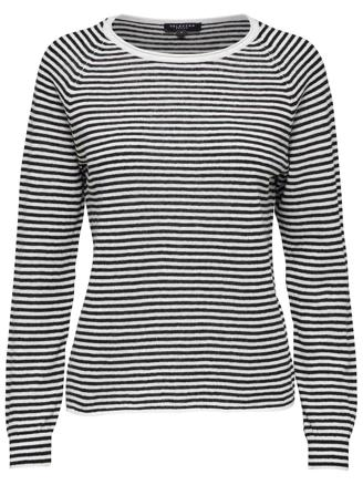 SLFASTRID LS KNIT - BLACK STRIPES/SNOW WHITE