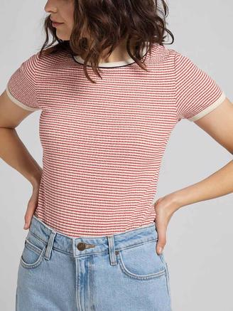 Striped Ribbed Tee, Aurora Red