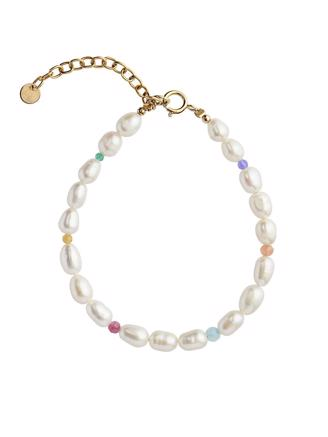 White Pearls Candy Stones Armbånd, Guld