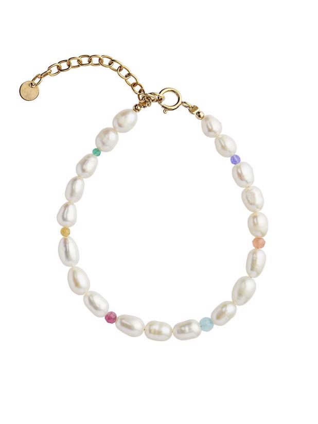 WHITE PEARLS CANDY STONES BRACELET
