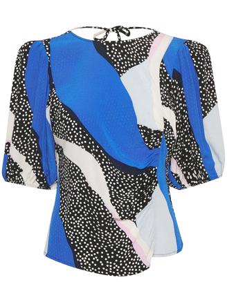 GLOWIEGZ BLOUSE - BLUE PINK COLORBLOCK