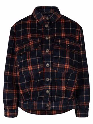 ROSALIE CHECK JACKET - NAVY