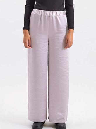 BELL TROUSERS - SILVER SATIN