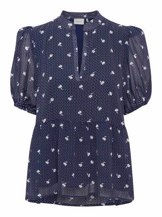 KAILAGZ BLOUSE - NAVY FLOWER DOT
