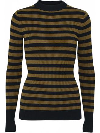 BLAIRE KNIT TOP - NAVY/BROWN STRIPE