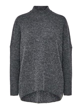 SLFENICA LS KNIT O-NECK - MEDIUM GREY MELANGE