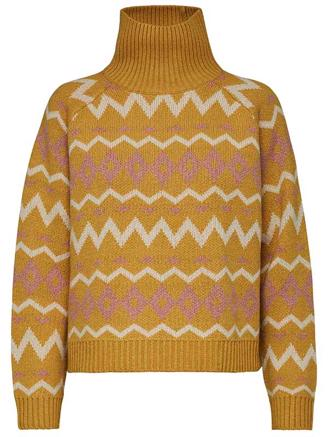 SLFNORMA LS KNIT - LEMON CURRY/CAMEO BROWN