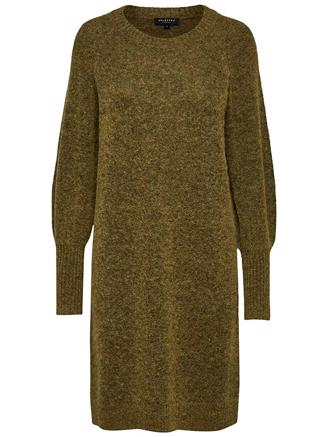 SLFKYLIE LS KNIT DRESS - ECRU OLIVE