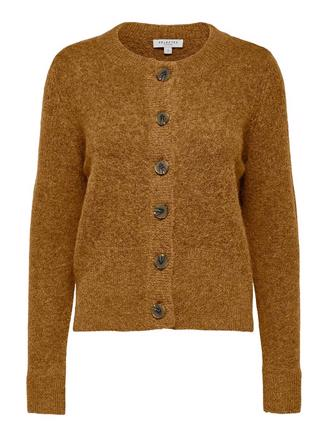 SLFSIA LS KNIT CARDIGAN - BRONZE BROWN